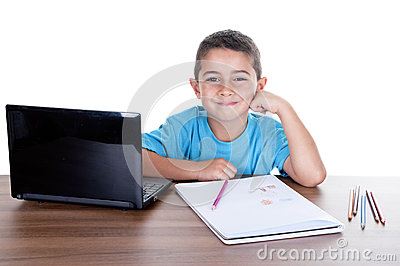 Child studying with computer