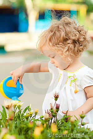 Child in summer garden