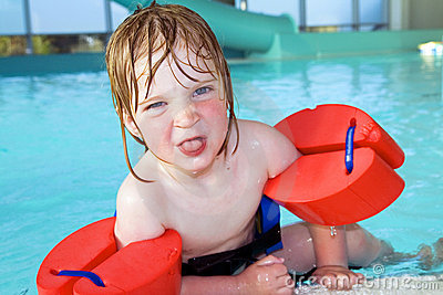 Child swimming pool portrait