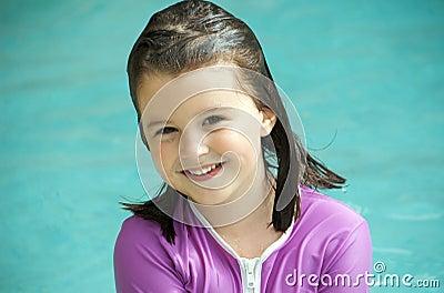 Child with swimming shirt