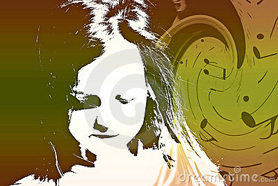 Child With Swirling Music Collage