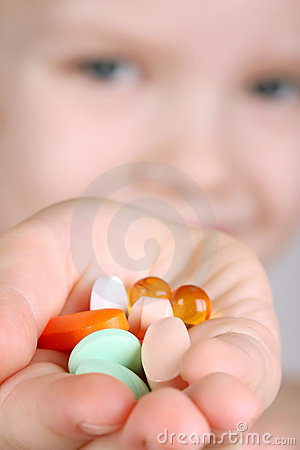 Free Child Takes Vitamins Royalty Free Stock Images - 4635679