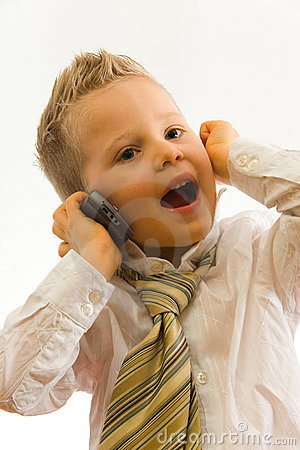 Child talking via cellphone