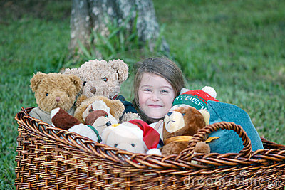 Child with teddy bears