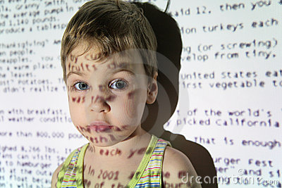 Child an text projection device