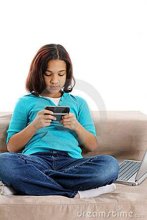 Child Texting on Cellphone
