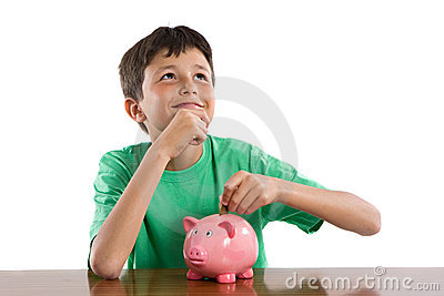 Child thinking what to buy with their savings