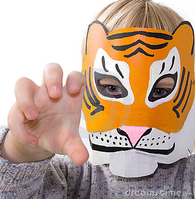 Child tiger mask pretending