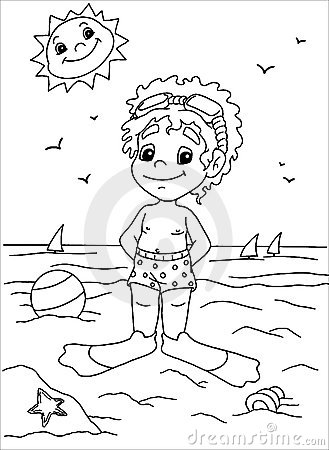 Child to the sea in black and white