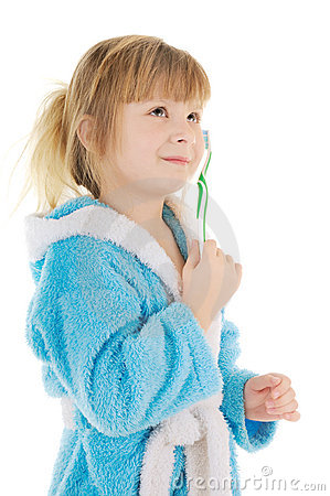 Child with toothbrush
