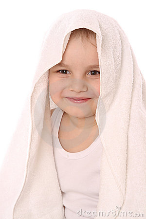 Child at towel is smiling