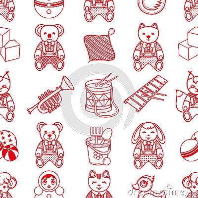 Child toy seamless pattern. Design element for postcard, banner, flyer Vector Illustration