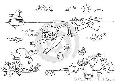 Child swimming underwa...