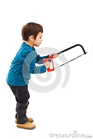 Child using saw