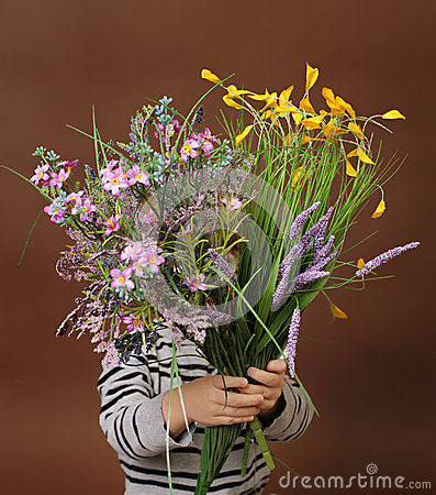 Child with Valentine s Day Flowers