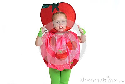A child in vegetable costume