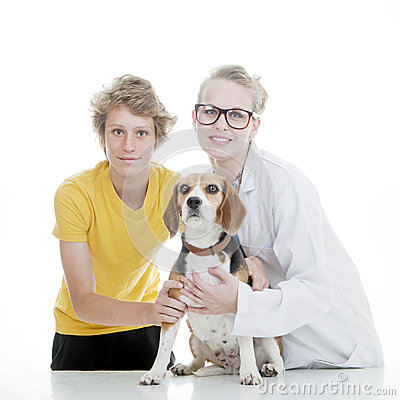 Child vet and pet dog