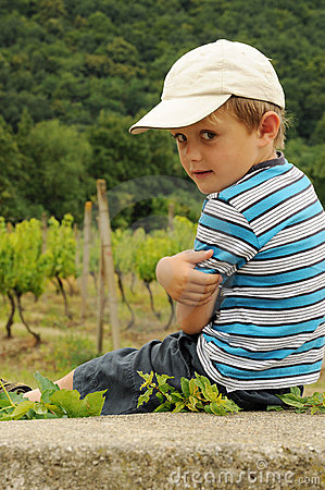 Child on vineyard