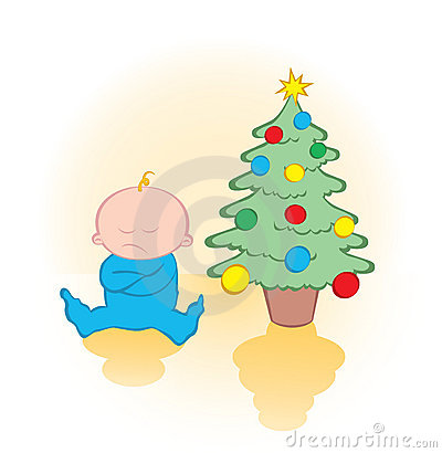 Child waiting for gift under christmas tree