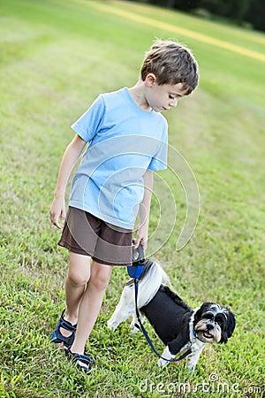 Free Child Walking A Dog Stock Images - 23559634