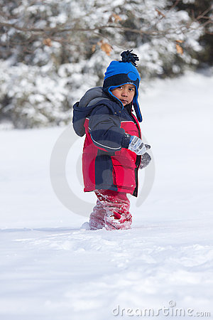 Child walking on snow
