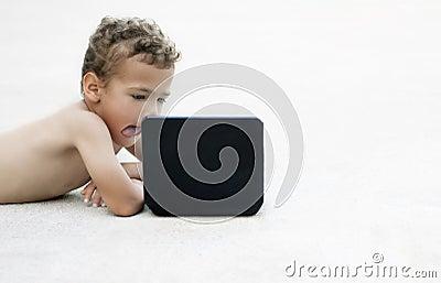 Child watching a movie