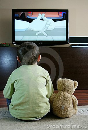 Free Child Watching TV Royalty Free Stock Photos - 4007338