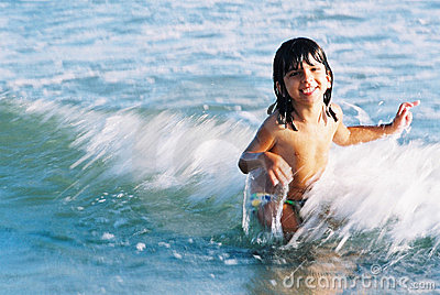 Child and waves