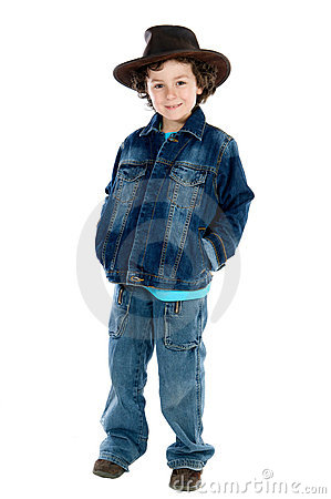Child wearing a cowboy hat