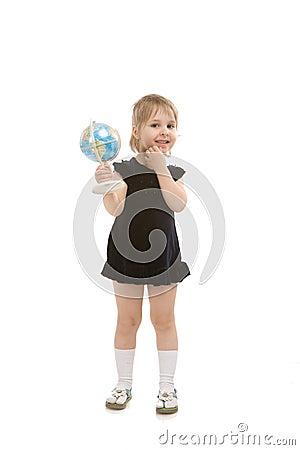 Child white a globe
