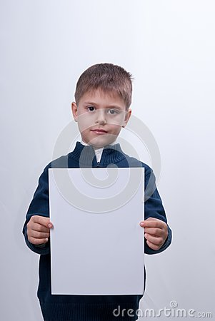 Child with the white sheet of paper