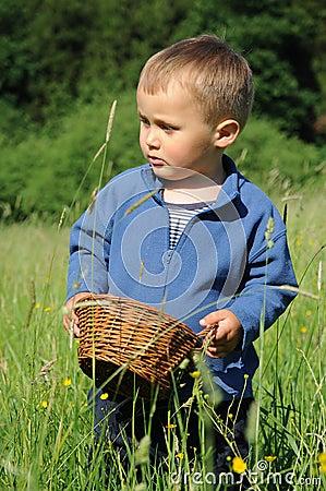 Child with wicker basket
