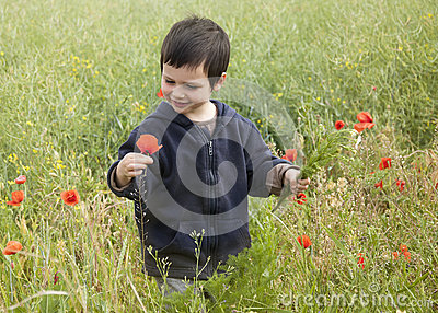 Child with wild flowers