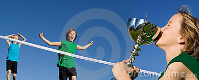 child winning sports race
