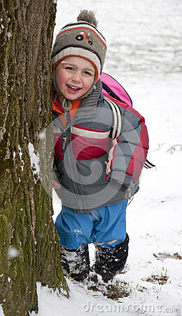 Child in winter park