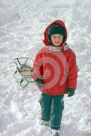 Child on winter snow