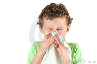 Child wiping his nose