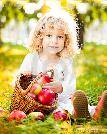 Free Child With Basket Of Apples Stock Image - 25070201