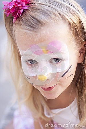 Free Child With Cat Face Paint Stock Photos - 32348483