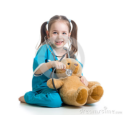 Free Child With Clothes Of Doctor Examining Teddy Bear Royalty Free Stock Photos - 40480588
