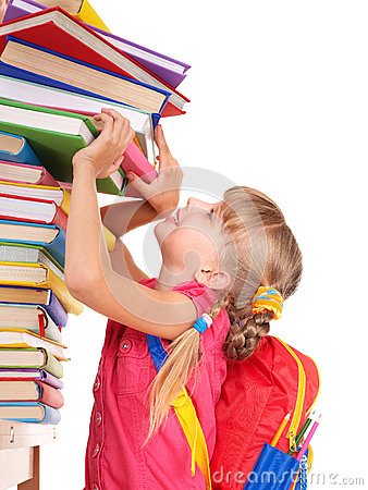Free Child With Pile Of Books. Royalty Free Stock Image - 32199356