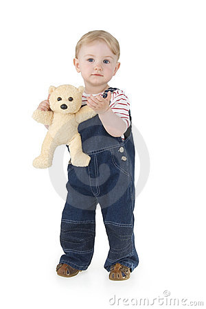 Free Child With Plushy Cuddle-bear Royalty Free Stock Image - 15208486