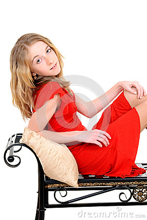 Free Child With Red Dress On Bench Royalty Free Stock Photos - 30971798