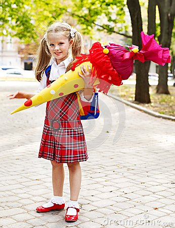 Free Child With School Cone. Royalty Free Stock Image - 32199746