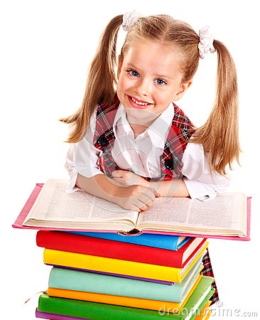 Free Child With Stack Book. Royalty Free Stock Image - 26141646