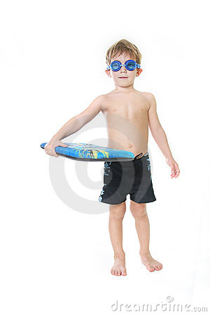 Free Child With Swimming Board Over White Royalty Free Stock Image - 17544356