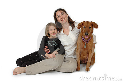 Child, Woman and Dog