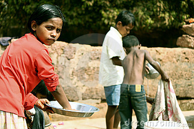 Child workers in orphanage of India Editorial Photo