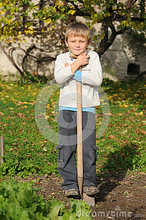 Child working in garden