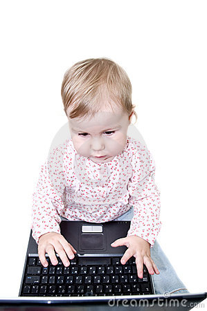 Child working on laptop